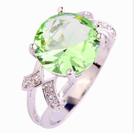 Кольцо с зеленым аметистом, покрытое серебром код 822