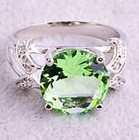 Кольцо с зеленым аметистом, покрытое серебром код 822, фото 2