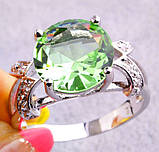 Кольцо с зеленым аметистом, покрытое серебром код 822, фото 3