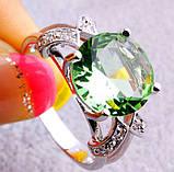 Кольцо с зеленым аметистом, покрытое серебром код 822, фото 4