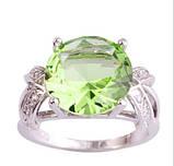 Кольцо с зеленым аметистом, покрытое серебром код 822, фото 5
