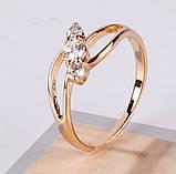 Кольцо позолоченное с белыми цирконами код 875, фото 2