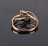 Кольцо позолоченное с белыми цирконами код 875, фото 3