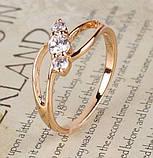 Кольцо позолоченное с белыми цирконами код 875, фото 5