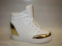 Ботиночки сникерсы белые с золотом Д443, фото 1