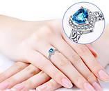 Кольцо покрытие белое золото с камнем в форме сердца код 893, фото 5