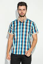 Рубашка мужская разноцветная клетка AG-0006386 Бежево-голубой