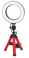 Набор для блогера 2 в 1: штатив с зажимом для телефона, кольцевая LED лампа 16 см (светодиодное селфи кольцо)