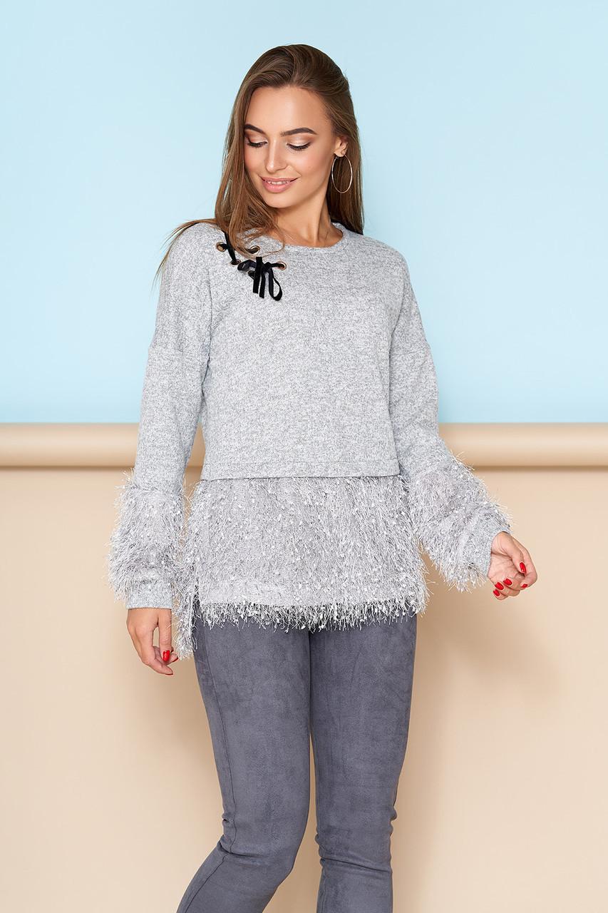 """Нарядная блуза """"А-110"""" со спущенной линией плеча и декором тканью """"Травка"""" (серый)"""