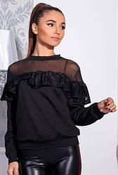 Черная блузка с рюшами -ЛЕТИЦИЯ-