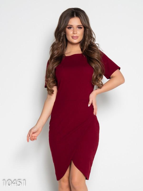 Бордовое платье-футляр с юбкой на запах M