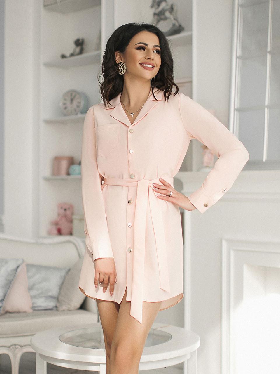Персиковое Платье-рубашка с поясом