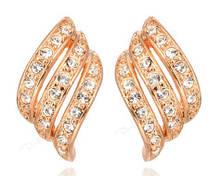 Позолочені сережки з кристалами код 934