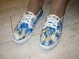 Слипоны на шнурках цветные голубые Т546, фото 4
