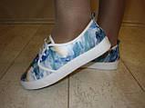Слипоны на шнурках цветные голубые Т546, фото 8