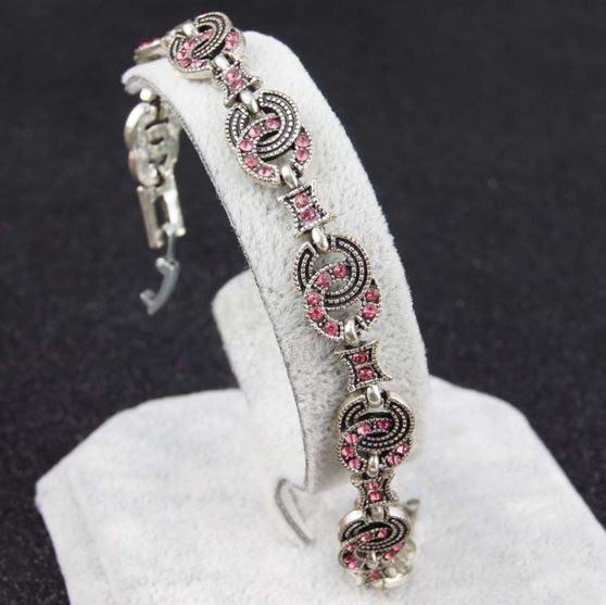 Браслет античное серебро с розовыми кристаллами код 980