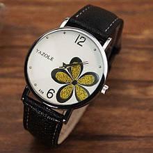 Наручний годинник жіночі з чорним ремінцем код 181