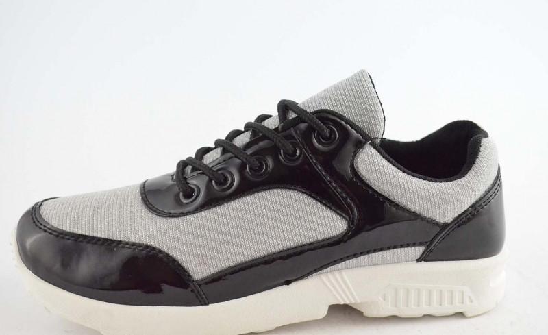 Кроссовки черные серебро Т547