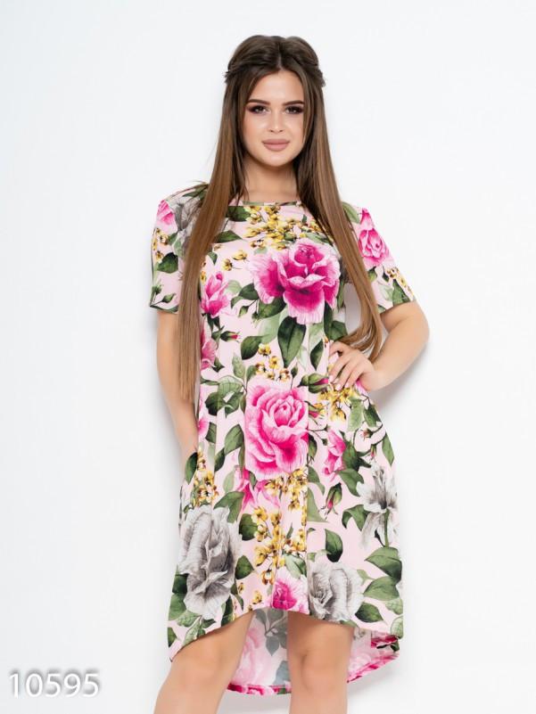Асимметричное свободное платье с цветочным принтом 4XL