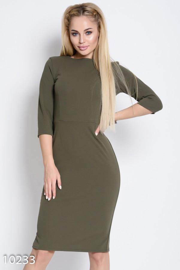 Однотонное облегающее офисное платье цвета хаки длиной до колен XL
