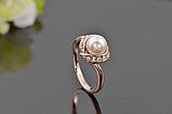 Позолоченное кольцо с кристаллами и жемчугом код 997, фото 2
