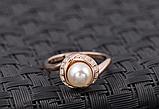 Позолоченное кольцо с кристаллами и жемчугом код 997, фото 5