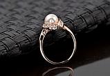 Позолоченное кольцо с кристаллами и жемчугом код 997, фото 6