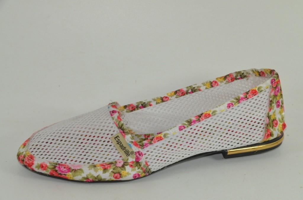 Эспадрильи белые сетка Т555