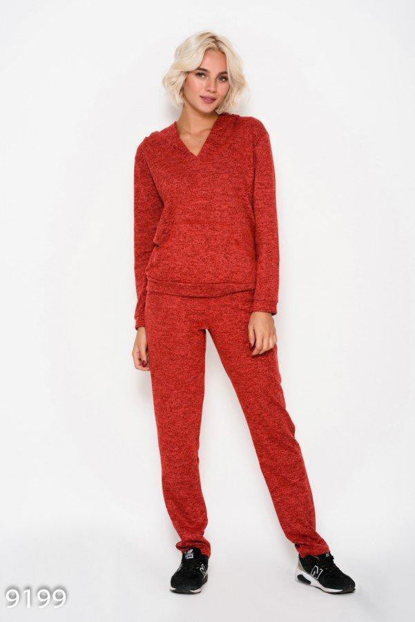 Красный  спортивный костюм из трикотажа с капюшоном и карманом-кенгуру M