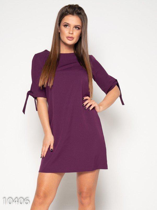 Фиолетовое однотонное платье с завязками на рукавах M