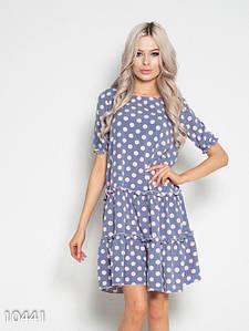 Серо-розовое свободное платье в горошек с воланами L