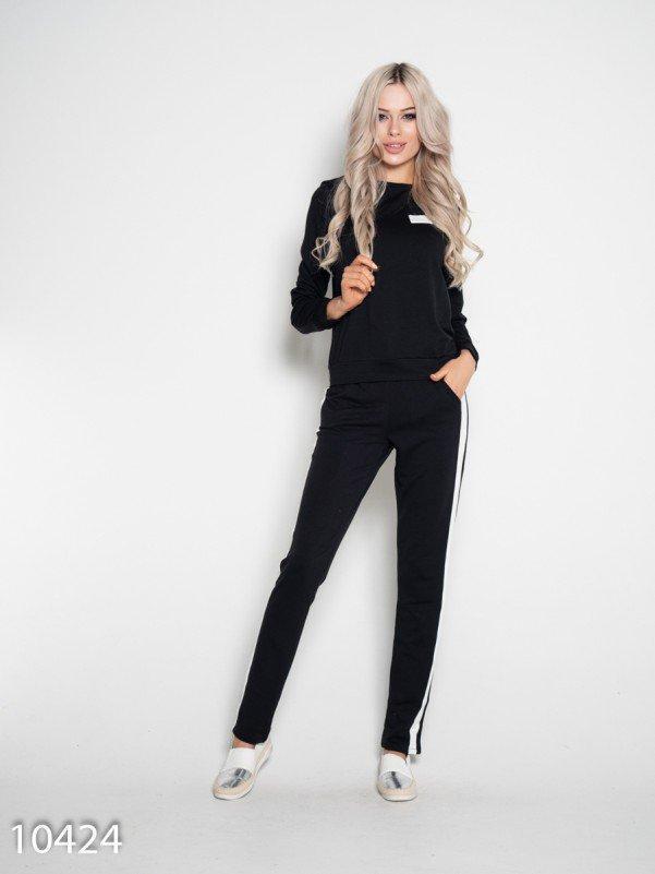 Черный трикотажный спортивный костюм S