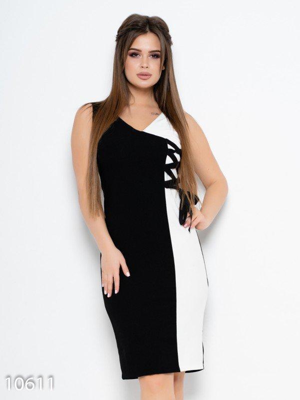 Черно-белое платье без рукавов со шнуровкой XL