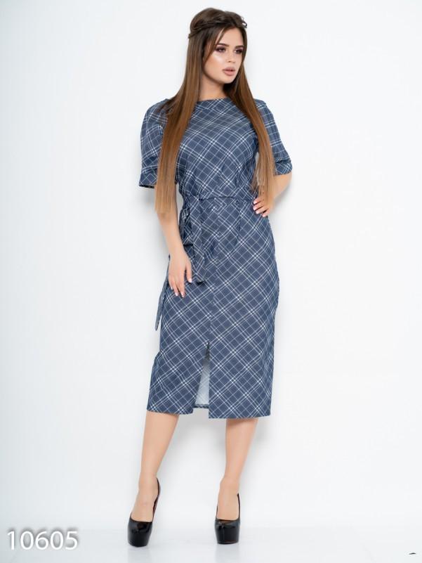 Синее джинсовое платье с клетчатым принтом L