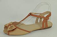 Босоножки женские бежевые с коричневым Б627, фото 1