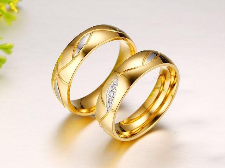 Позолоченное обручальное кольцо код 127