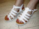 Босоножки белые женские на каблуке Б689, фото 4