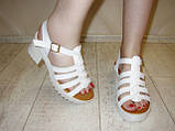 Босоножки белые женские на каблуке Б689, фото 6