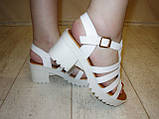 Босоножки белые женские на каблуке Б689, фото 7