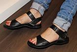Босоножки женские черные на липучке натуральная кожа Б705, фото 8