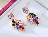 Позолоченные серьги с цветными кристаллами код 181, фото 3