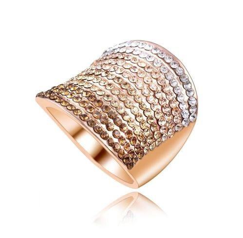 Позолоченное кольцо с кристаллами код 177