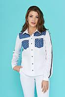 dbf1017da32 Модная женская белая рубашка с карманами и отделкой из голубого джинса