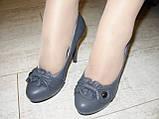 Туфли женские серые на каблуке Т629, фото 6