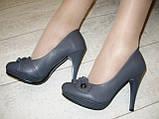 Туфли женские серые на каблуке Т629, фото 7