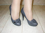 Туфли женские серые на каблуке Т629, фото 8