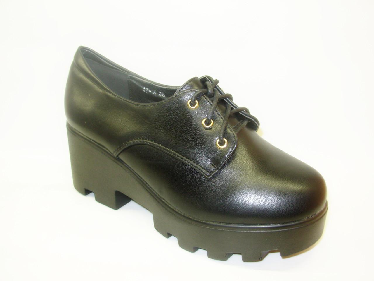 Туфли женские черные тракторная подошва Т612 36