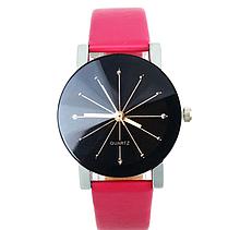 Наручні кварцові годинники з рожевим ремінцем код 153