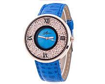Модний жіночий годинник з блакитним паском код 223