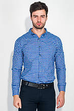 Рубашка мужская в клетку, стиль casual AG-0007341 Сине-белый